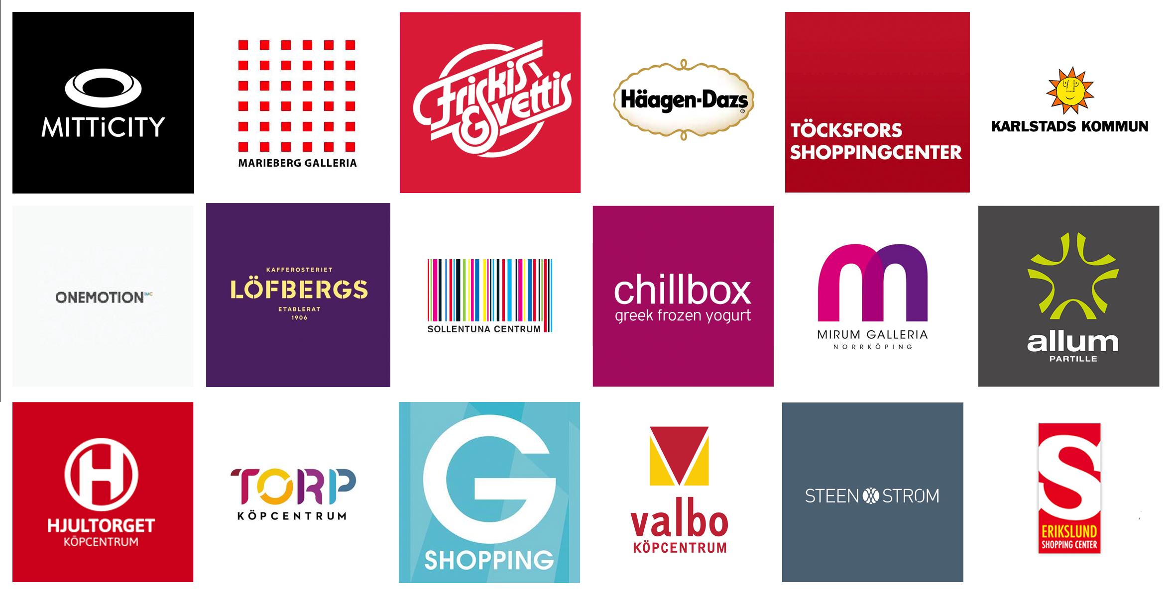 Widevision lista på kunder, massor av logotyper.